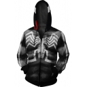 Cool Unique Muscle Spider 3D Printed Long Sleeve Black Zip Up Hoodie