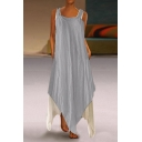 Womens Summer Trendy Boutique Fake Two-Piece Cotton Maxi Asymmetrical Strap Dress