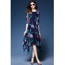 Womens Fancy Royal Blue Floral Printed Round Neck Half Sleeve Midi Silk Asymmetrical Dress