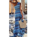 Trendy Blue Tribal Printed One Shoulder Sleeveless Maxi Beach Bohemian Dress