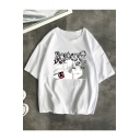 Summer Cool Cartoon Comic Figure Printed Round Neck Casual Loose T-Shirt