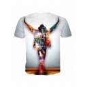 Cool Light Figure Printed Basic Round Neck Short Sleeve White T-Shirt