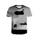 Popular Game Character Pattern Basic Round Neck Short Sleeve Grey T-Shirt