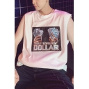 Summer Guys Cool Letter GET EVERY DOLLAR Round Neck Sleeveless Casual Loose Tank