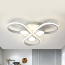 3/4 Heads Teardrop Ceiling Mount Light Contemporary Acrylic Flush Light with Warm/White Lighting for Adult Bedroom