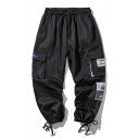 Fashion Letter Patchwork Multi-pocket Drawstring Cuff Casual Cargo Pants