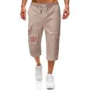 Men's Summer Fashion Logo Print Multi-pocket Casual Straight Cropped Cargo Pants