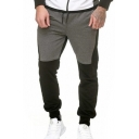 Simple Fashion Color Block Drawstring Waist Slim Fit Casual Sports Joggers Sweatpants for Men