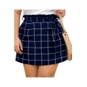 Womens Plus Size Fashion Navy Check Print Paperbag Tied Waist Mini A-Line Skirt