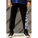 Trendy Wave Print Patched Loose Fit Men's Fashion Black Casual Sweatpants