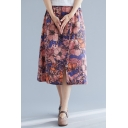 Summer Girls Vintage Floral Printed Elastic Waist Button Front Midi Casual Linen Skirt