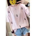 Summer Allover Cat Embroidery Round Neck Loose Casual T-Shirt