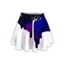 Hot Fashion Unique Galaxy Dropped Milk Printed Mini A-Line Skater Skirt