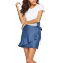 Stylish Denim Blue Tied Waist Ruffled Hem Plain Mini Wrap Skirt