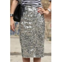 Womens Hot Popular Sexy Midi Bodycon Sequined Skirt