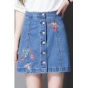 Girls Summer Chic Simple Floral Embroidery Button Down Blue Mini A-Line Denim Skirt