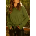 Womens Basic Simple Plain Round Neck Long Sleeve Drawstring Hem Casual Pullover Sweatshirt
