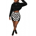 Fashion Black and White Checkerboard Printed Sexy Mesh Panel Mini Short Bodycon Skirt