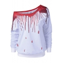 Womens Dropped Blood Printed Oblique One Shoulder Long Sleeve White Sweatshirt