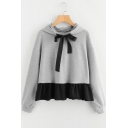 Trendy Sweet Bow-Tied Collar Ruffled Hem Long Sleeve Grey Cropped Hoodie