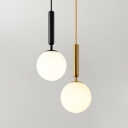 White Glass Ball Mini Hanging Lamp Post Modern 1 Light Pendant Lighting in Black/Gold