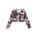 Womens Trendy Classic Camo Printed Long Sleeve Zip Up Cropped Hoodie