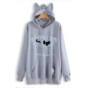 Hot Popular Cartoon Cat Funny Letter IF I FITS I SITS Loose Fitted Ear Hoodie
