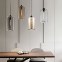 Contemporary Cylinder Hanging Light Glass 1 Head Mini Pendant Lamp in Amber/Clear/Smoke