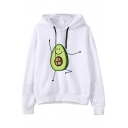 Hot Popular Cute Cartoon Avocado Print Long Sleeve Casual White Hoodie