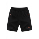 Summer Fashion Logo Embroidery Pattern Zipped Pocket Drawstring Waist Black Loose Relaxed Shorts for Men