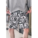 Trendy Dollar Printed Drawstring Waist Black and White Hip Pop Casual Shorts
