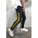 Hot Fashion Letter Yellow Diagonal Stripes Side Men's Black Ripped Jeans