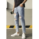 Men's New Stylish Light Blue Regular Fit Ripped Jeans with Holes