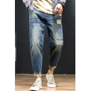 Men's Trendy Vintage Washed Camouflage Printed Patched Rolled Cuffs Tapered Cargo Jeans