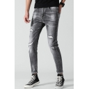 Men's Fashion Washed-Denim Rolled Cuffs Black Slim Fit Zip-fly Ripped Jeans