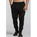 Men's New Stylish Letter Printed Crisscross Tied Design Black Casual Sweatpants