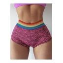 Womens Trendy Rainbow Striped Waist Pleated Back Skinny Fit Yoga Shorts
