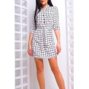 Fashion Black and White Check Printed Stand Collar Three-Quarter Sleeve Mini Sheath Shirt Dress