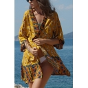 Summer Holiday Fashion Yellow Floral Printed Chiffon Kimono Blouse Top