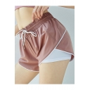 Womens Fashion Fake Two-Piece Patched Drawstring Elastic Waist Quick Drying Running Training Pull On Shorts