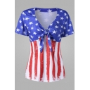 Trendy Star Stripe Flag Printed Knotted V-Neck Short Sleeve Fitted T-Shirt
