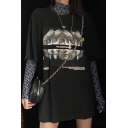 Cool Street Fashion Figure Printed Round Neck Loose Oversized T-Shirt