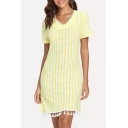Womens Fancy Yellow Stripe Print V-Neck Short Sleeve Tassel Hem Mini Sheath Dress