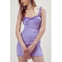Girls Summer Hot Popular Purple Ruffled Hem Tied Straps Mini Bodycon Cami Bustier Dress