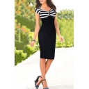 Office Lady Trendy Black Striped Printed Cap Sleeve Midi Pencil Dress