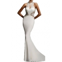 Womens Boutique Chic Lace-Panel Sexy Cutout Back Sleeveless Floor Length Bodycon Fishtail Evening Dress