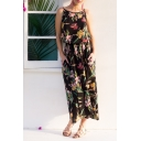 Womens Summer Holiday Fashion Black Floral Printed Maxi Cami Beach Dress