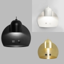 Black/Gold/White Bedside Wall Lamp Modern Simple 1 Head Wall Sconce with Supporter