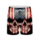 Men's Popular Fashion American Flag Skull Printed Drawstring Waist Black Casual Sports Shorts