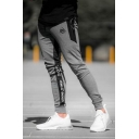 Men's Fashion Letter Printed Zipped Pocket Slim Fit Casual Cotton Sports Joggers Pencil Pants